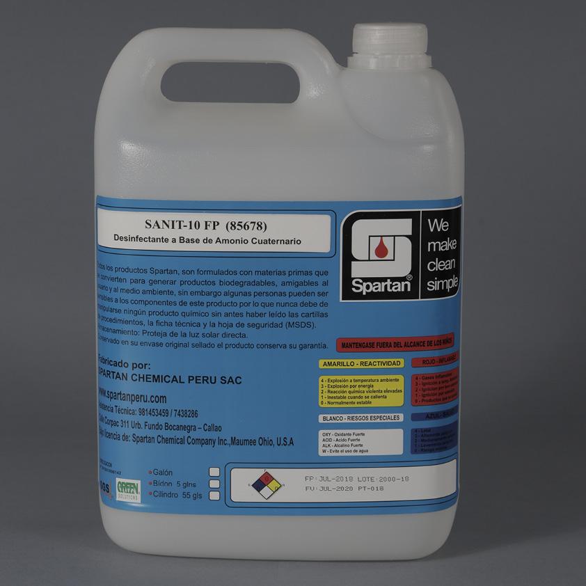 SANIT-10 FP – Desinfectante a base de Amonio Cuaternario