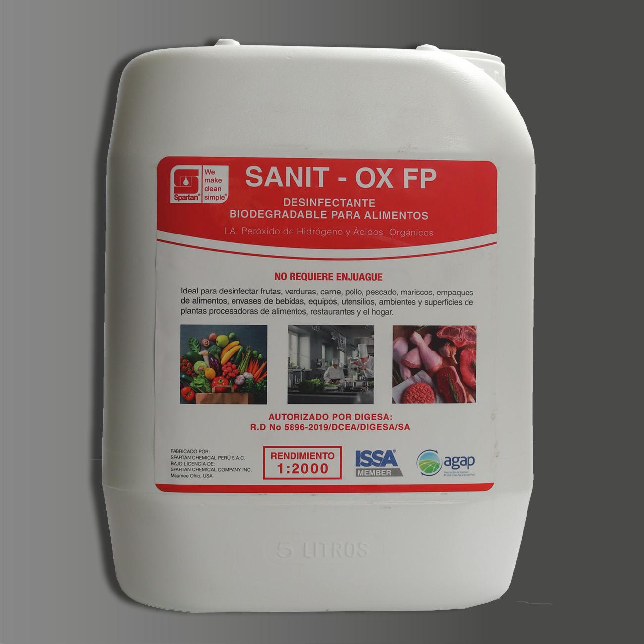 SANIT-OX  FP – Desinfectante Biodegradable a base de Peróxido de Hidrógeno